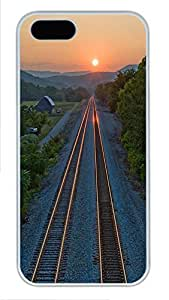 iPhone 5 5S Case Landscapes train rails PC Custom iPhone 5 5S Case Cover White