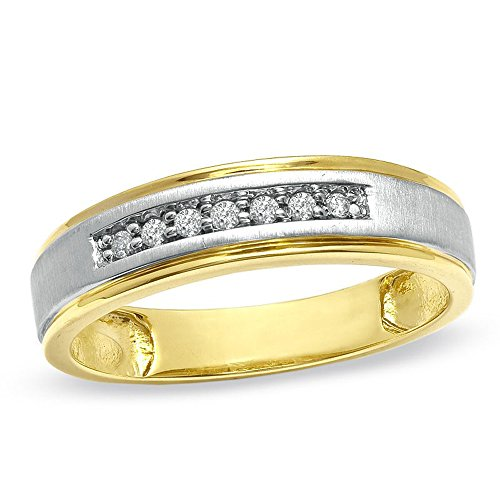 Silvercz Jewels Ladie's Accent Wedding Band Ring in 0.25 Cts D/VVS1 CZ 14K Two-Tone Gold Plated by Silvercz Jewels
