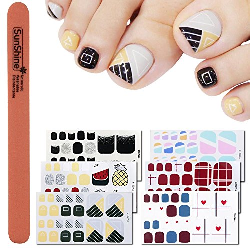 Sticker File Nail - WOKOTO 6 Sheets Self-Adhesive Toe Nail Polish Decals Stickers And 1Pc Nail File Shinny Color Splicing Grid Pattern Toenail Wraps For Women