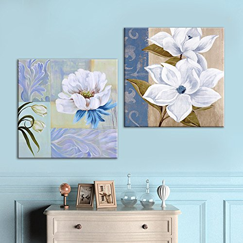 2 Panel Square Oil Painting Style Flower Patterns x 2 Panels