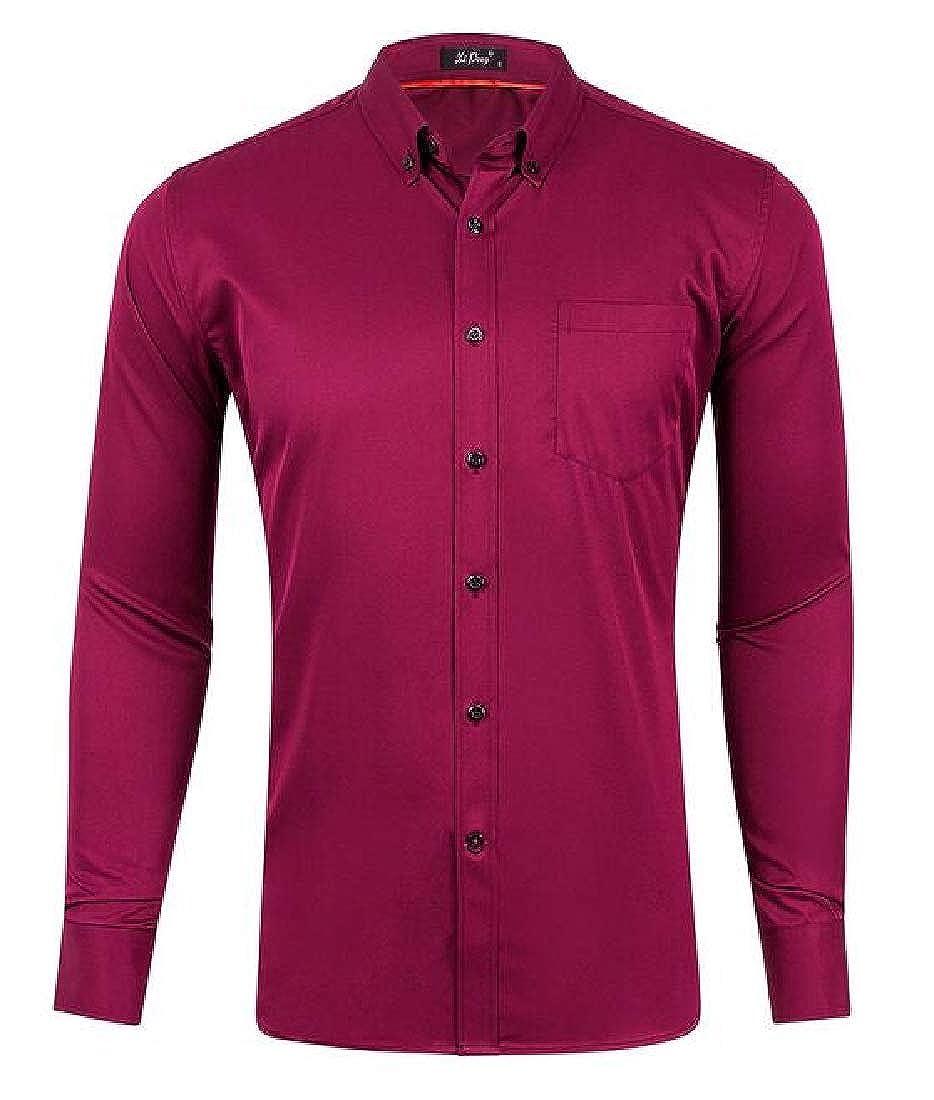 SHOWNO Mens Long Sleeve Stretch Plain Casual Button Down Dress Shirt