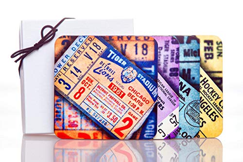 (Detroit Sports Vintage Ticket Stubs Hardboard Drink Coasters (set of 4))