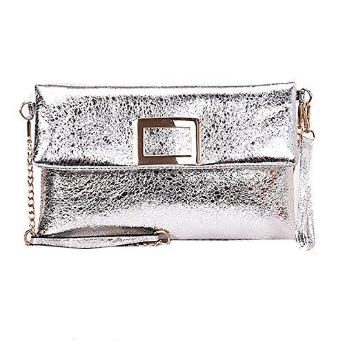 Rebecca Women Classic Chain Handbag PU Leather Envelope Bag Portable Totes Evening Clutch Purse with Shoulder Strap (Silver) - 1 Silver Handbag