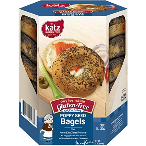 Katz Gluten Free Poppy Seed Bagels | Dairy, Nut and Gluten Free | Kosher (6 Packs of 4 Bagels, 13 Ounce Each)