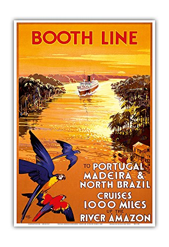 Portugal, Madeira & North Brazil - Booth Line - Cruises 1,000 Miles Up the River Amazon - Vintage Ocean Liner Travel Poster by Walter Thomas c.1930s - Master Art Print - 13in x 19in