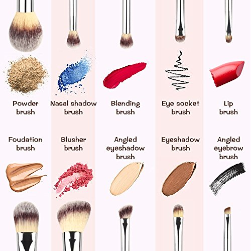 L COSMETIC(TM) 10 Piece Makeup Brushes Set Professional Eyeshadow Premium Cosmetic Brush Makeup Brush Kit Synthetic Kabuki with Powder Blusher Foundation Eyeshadow Eye Brush (Black Silver)