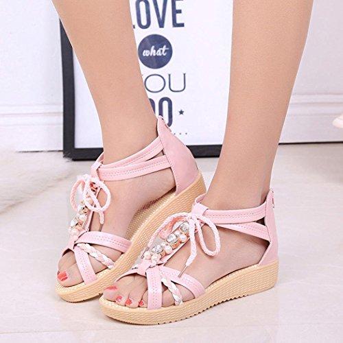 Ouneed® Casual Peep-Toe Flache Schnalle Schuh Frauen Sommer Sandelholz , Schuhe Erwachsene Zehentrenner Rosa A