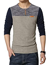 Mens Summer Casual Button Slim Fit Contrast Color Short Sleeve Henley T-Shirts