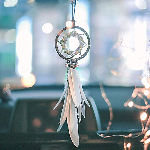 - Dremisland Handmade Grey Feather Dream Catcher Car Interior Rearview Pendant Charm Car Hanging(Gray Circle)