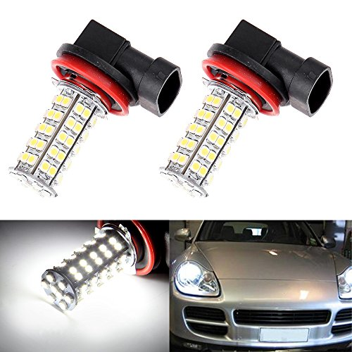 cciyu 2 Pack Xenon White 68-SMD 3528 Chipsets H8 H11 LED Bulbs Replacement fit for Fog Lights