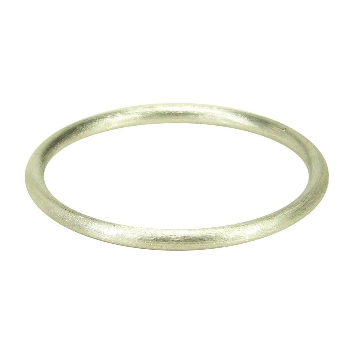 Sheila Fajl Round Tubular Brush Bangle in Brush Silver Plated