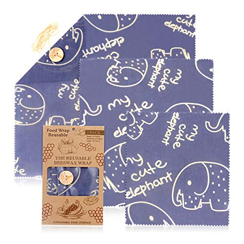 JUNMAO Reusable Beeswax Food Wraps,Cute Elephant Eco Friendly & Sustainable Plastic Free Food Storage,Natural Ingredients,Anti Bacterial,Cling Wrapper Replacement,Assorted 3 Pack