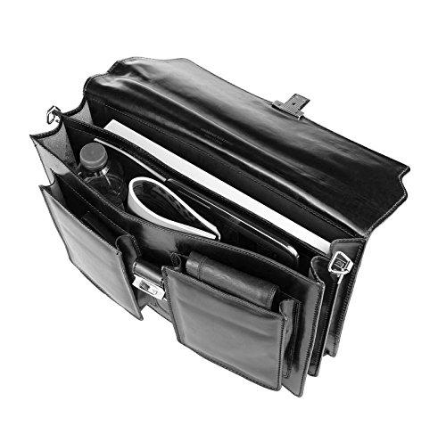 Made in Italy Unisex LEDER Aktentasche Tasche Schultertasche Umhängetasche Handtasche Laptop DIN A4 39x28x15 cm (BxHxT) Schwarz 2xFach