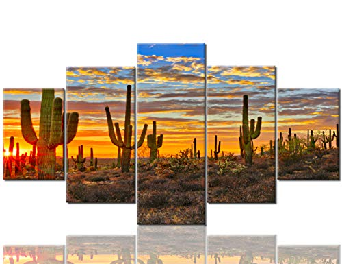 (Landscape Pictures Arizona Desert Paintings for Living Room Saguaro Cacti Mountains,Phoenix Wall Art 5 Panel Canvas Modern Artwork Home Decor Wooden Framed Stretched Ready to Hang(60''Wx32''H))