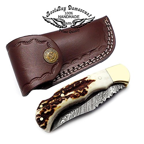 Beutiful Stag Horn 6.5'' Handmade Damascus Steel Folding Pocket Knife With Back Lock 100% Prime Quality - Premium Manufacture - Excellent Design Damascus Steel - A Priceless Gift - Best.Buy.Damascus1