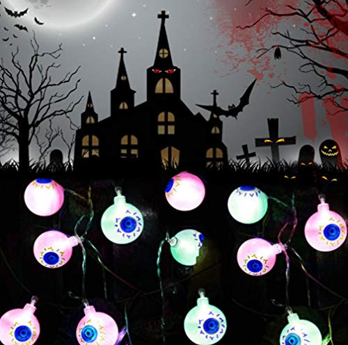 2.5m 20 Led Solar Halloween Eye Ball Lights Sunsign Eyeball String Lights with Two Modes,Solar Rope Lights Send Transferable Double-Sided Tape (Colorful)