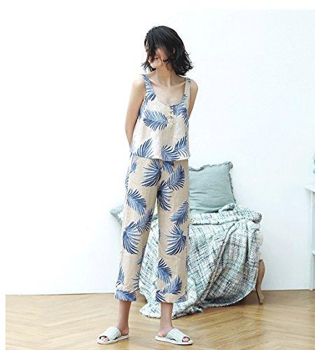 0 táctil Las señoras del verano conceden el pijama cómodo del algodón ( Color : Beige , Tamaño : S ) Beige