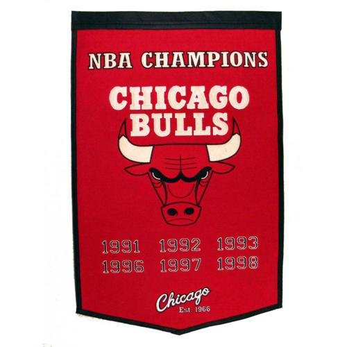 Chicago Bulls NBA Finals Championship Dynasty Banner - with hanging rod