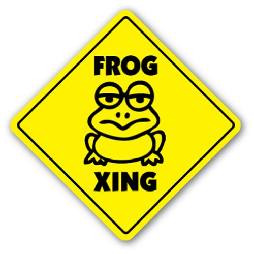 FROG CROSSING Sign xing frogs lover collector gift