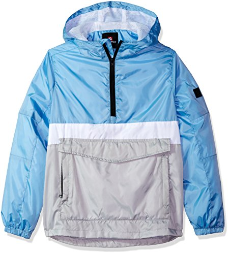 Southpole Boys' Big Anorak Colorblock Water Resistance Hooded Pullover, Sky Blue(Packable), -
