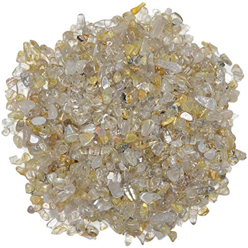 Digging Dolls: 1 lb of Tumbled Golden Rutilated Quartz Chip Stones - Polished Rocks for Crafts, Art, Vase Filler, Decoration, Reiki, Crystal Jewelry Making and More!