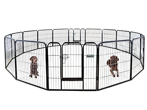 DazzPet Dog Puppy Large Playpen Metal Fence with Door | Heavy Duty Pet Pen Outside Exercise RV Play Yard | Outdoor Indoor Courtyard Kennel Crate Enclosures | 32