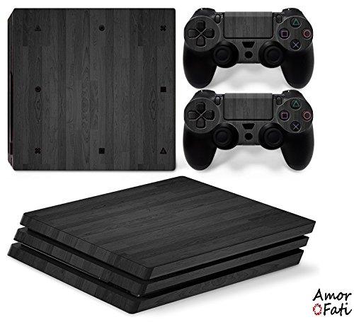 AmorFati PS4 PRO Playstation 4 PRO Console Skin Decal Sticker - Black Wood + 2 Controller Skins Set