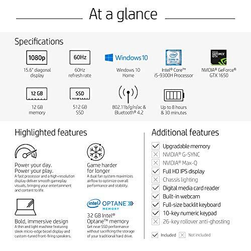 HP Pavilion Gaming 15-Inch Laptop, Intel Core i5-9300H, NVIDIA GeForce GTX 1650, 12GB RAM, 512GB SSD, Windows 10 (15-dk0042nr, Black)