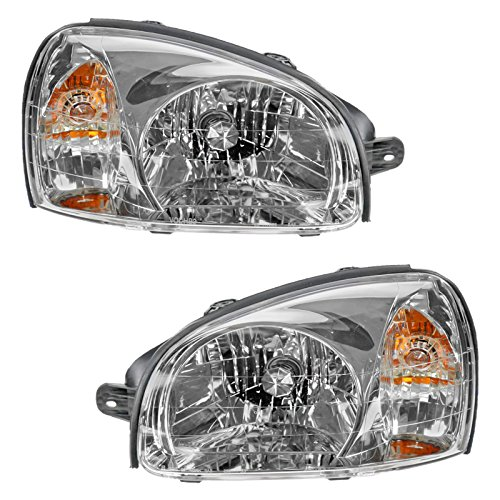 Headlights Headlamps Left & Right Pair Set for 03-06 Hyundai Santa Fe