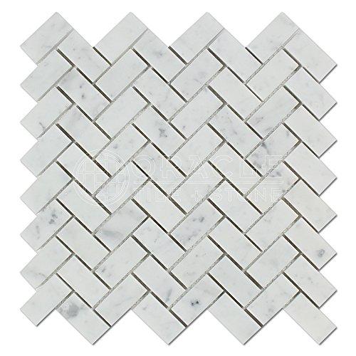 Carrara White Italian (Bianco Carrara) Marble 1 X 2 Herringbone Mosaic Tile, Polished