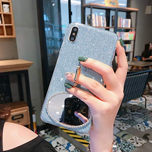 Cfrau 2 in 1 Glitter Case with Black Stylus for Samsung Galaxy S8 Plus,Luxury Crystal Diamond Makeup Oval Mirror Soft TPU Case with 360 Ring Holder Kickstand for Samsung Galaxy S8 Plus,Blue 02