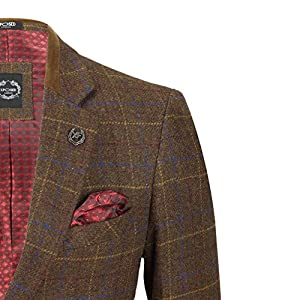 Mens 3 Piece Oak Brown Tweed Check Suit MOD Blazer Waistcoat Trouser All Sold as Tailored Separates