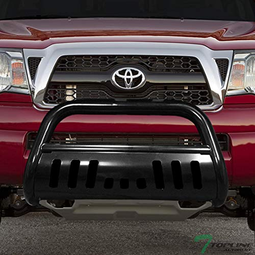 Topline Autopart Black Bull Bar Brush Push Front Bumper Grill Grille Guard With Skid Plate For 05-15 Toyota Tacoma