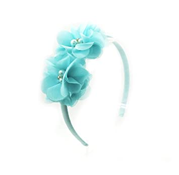 Teal PrettyBoutique Chiffon Pearl Rhinestone Flowers Girls Alice Headband Hair Band
