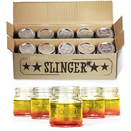 THE SLINGER Shot Glasses Set  Mini Mason Jars with Lids Featuring Unique Star Design 10 Pack