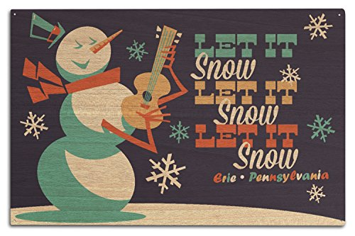 Erie, Pennsylvania - Let it Snow Snowman - Retro Christmas (10x15 Wood Wall Sign, Wall Decor Ready to Hang)