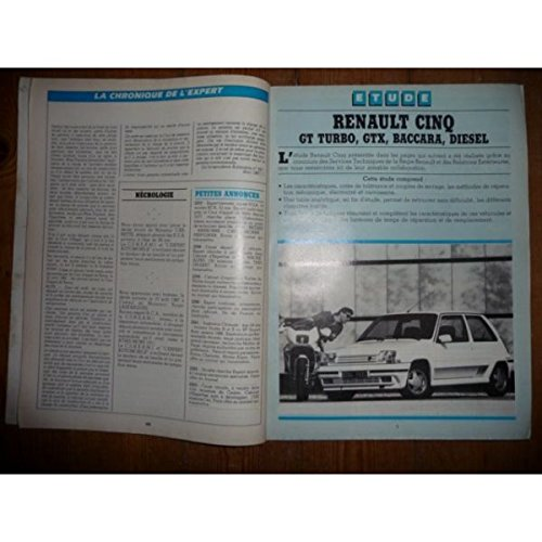 REVUE TECHNIQUE EXPERT AUTOMOBILE RENAULT SUPER 5 S5 R5 SUPERCINQ GTX BACCARA GT TURBO ET DIESEL: Amazon.es: Desconocido: Libros
