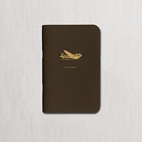 Crane & Co. Engraved Vintage Airplane on Espresso Brown Small Notebook - Pack of 2
