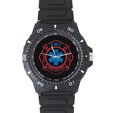 Gifts For Fathers/Husbands Fire Rescue Firefighter EMT. Black Plastic High Quality Watch