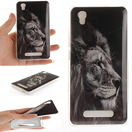 Ecoway TPU Funda Case for ZTE Blade L5 plus , Ultra Thin Carcasa Anti Slip Soft Bumper Scratch Resistant Back Cover Crystal Clear Flexible Silicone Case Parachoques Carcasa Funda Bumper - Dont touch  León negro