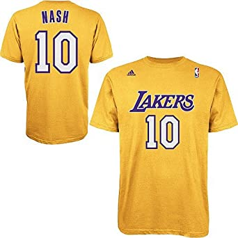 ... Amazon.com Steve Nash Los Angeles Lakers Gold Jersey Name and Number T-  shirt ... f801a97d7