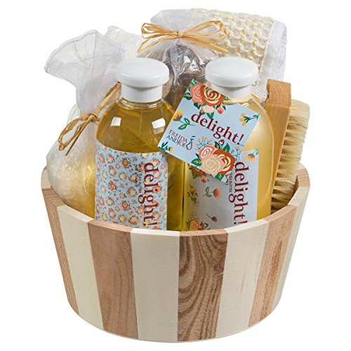 (Bath & Body Gift Basket Massage & Reflexology Beauty Kit Spa Basket in Floral Delight Aromatherapy Scent, Bath & Shower Set Includes Shower Gel, Bubble Bath, Bath Salt, Pumice Stone, Bristle Brush)