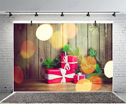 Leyiyi 5x3ft Photography Backdrop Merry Christmas Background Grunge Graffiti Vintage Wood Board Happy New Year Barn Redberry Light Spot Pin Branches Gifts Photo Portrait Vinyl Video Studio Prop