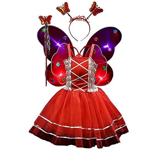 Fairy Costume Set 4pcs,Girls Dress Up Princess Dress, Butterfly Wings, Wand and Headband for Children Ages 3-10 (Red-LED Light)