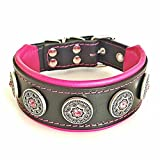 Bestia ''Bijou'' handmade dog collar. Studded. french bulldog, bulldog, terrier, german shepherd, 2 inch wide, 100% leather, perfect fit, soft padded, medium sized, Made in Europe