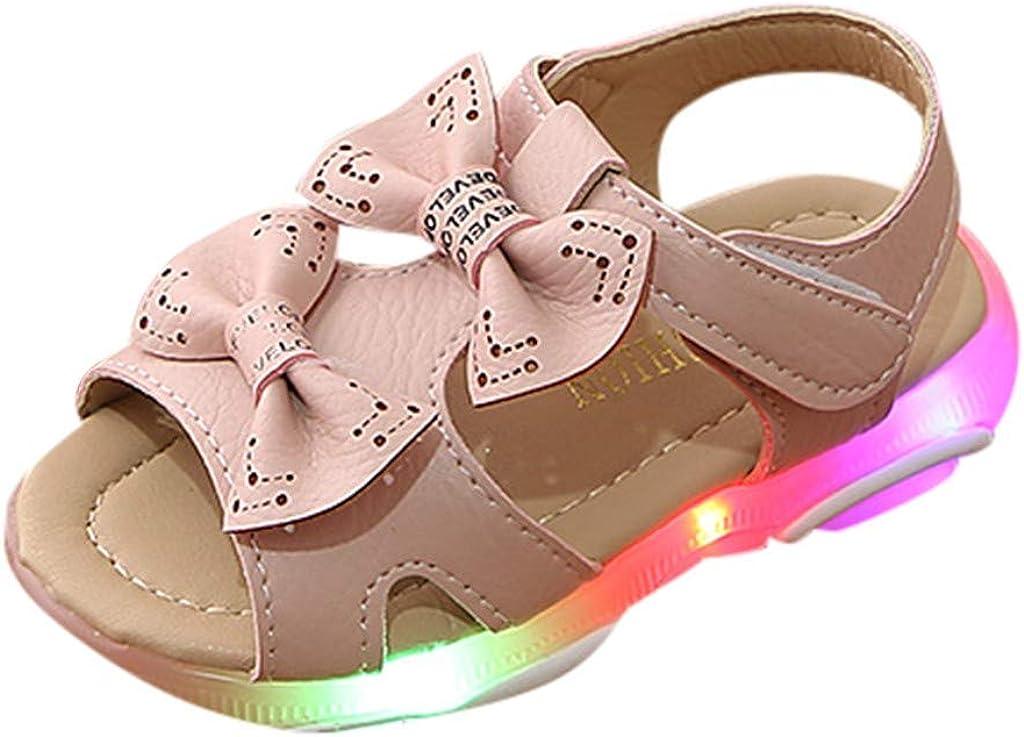 Topgrowth Sandali Bambina LED Scarpe Luminose Casual Sandali Punta Aperta Ragazza Cuoio Morbida Aperti Sandali Bambine Arco Scarpe con Luci Scarpe Estivi