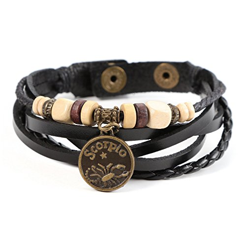 Lucky Handmade Natural Constellation Zodiac Sign Logo Genuine Real Leather Bracelet with Charms, Beads, Button, Adjustable Size, Gift for Him or for Her, Unisex (Scorpio - Black Leather)
