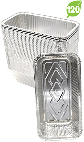 (120 Pack) Premium Aluminum Foil 2-LB Bread Loaf Pans l Standard Size 8.5 inch x 4.5 inch x 2.5 inch l Top Bakers Choice Disposable Tin Baking Pan Oven Safe Sturdy Containers for Cakes Meatloaf Lasagna Roasting