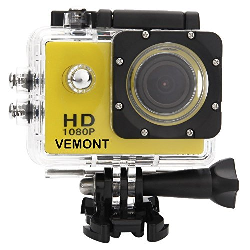 Vemont Action Camera 1080P 12MP Sports Camera Full HD 2.0 Inch Action Cam 30m/98ft Underwater Waterproof Camera with Mounting Accessories Kit (Yellow)