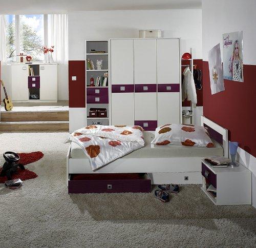 8-tlg Kinderzimmer Set weiss - brombeer Kleiderschrank Sideboard Jugendbett